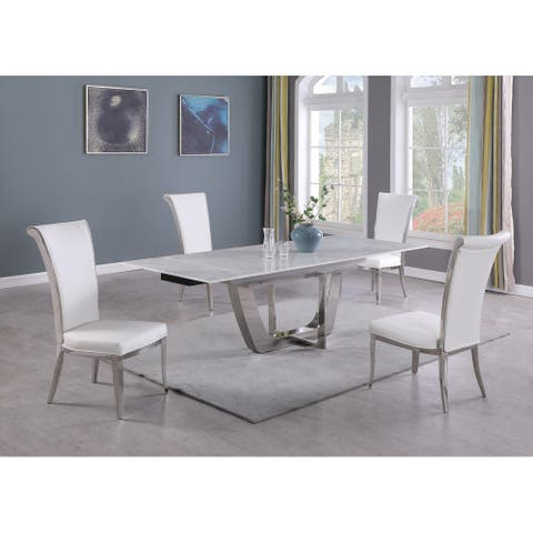 Somette Juliet Carrara Marble 5-Piece Dining Set
