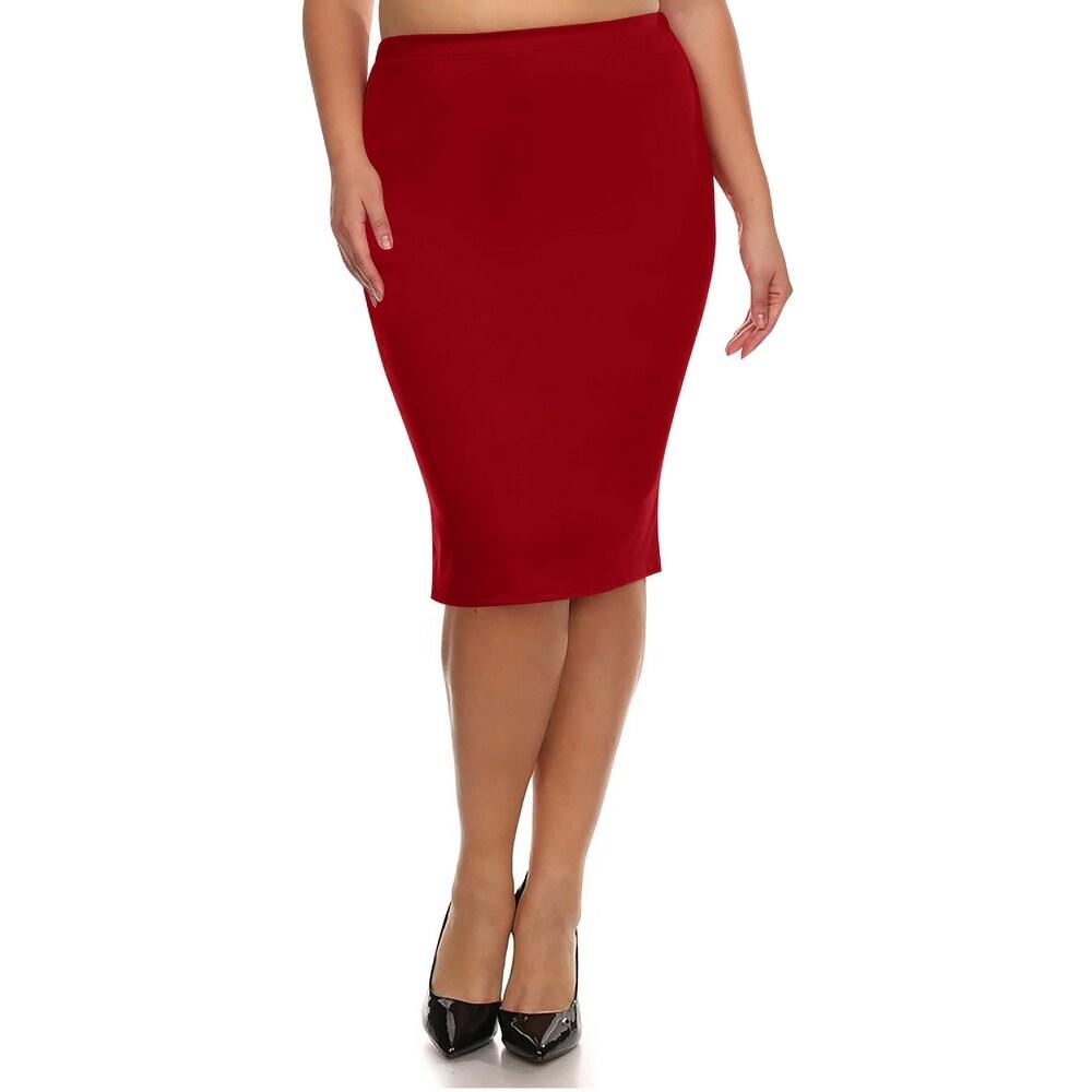 Womens Solid Plus Size Pencil Midi Skirt