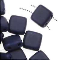 CzechMates Glass 2-Hole Square Tile Beads 6mm - Matte Navy Blue (1 Strand)