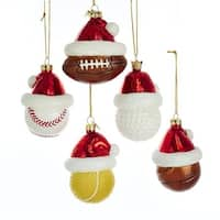 """Pack of 10 Christmas Themed Glass Sports Balls Hanging Ornaments 3"""" - WHITE"""
