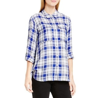 Two by Vince Camuto Womens Button-Down Top Plaid Relaxed