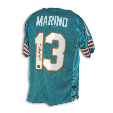 new style 0a280 e0c53 Dan Marino Miami Dolphins Autographed Aqua Blue Throwback Jersey
