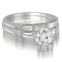 1.50 CT.TW Round And Baguette Cut Three Stone Diamond Bridal Set - White H-I