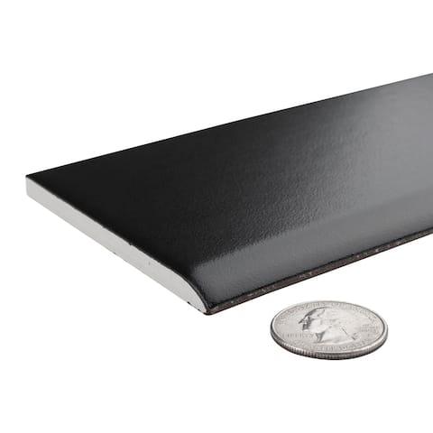 "SomerTile Battiscopa Matte Black 3.25"" x 12.38"" Ceramic Wall Trim Tile - CASE"
