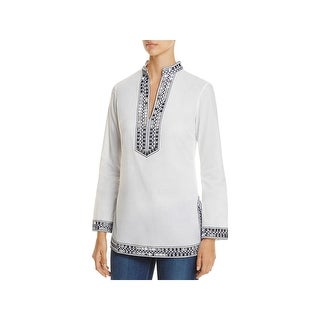 Tory Burch Womens Tunic Top Embellished V-Neck