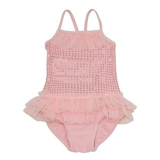 Solo International Baby Girls Pink Sequin Tulle Ruffles One Piece Swimsuit 12M