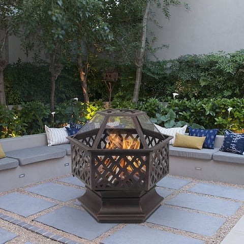 "22"" Outdoor Hexagonal Shaped Iron Brazier Wood Burning Fire Pit"