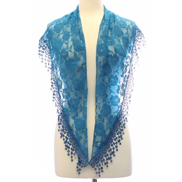Womens Triangle Flower Lace Scarf