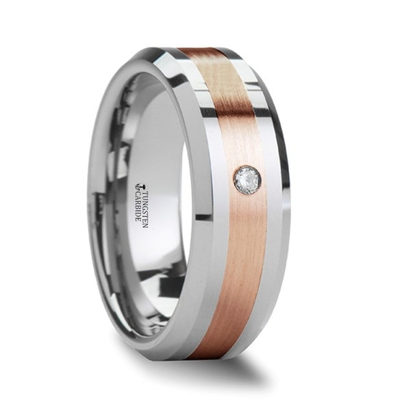 Enzo Rose Gold Inlaid Beveled Tungsten Ring With Diamond
