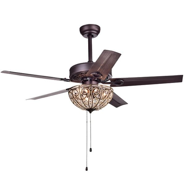 Catalina Bronze 5 Blade 48 Inch Crystal Ceiling Fan Optional Remote On Sale Overstock 10412248
