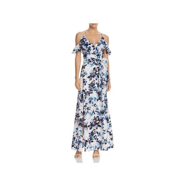 6e977bce16a Shop Eliza J Womens Maxi Dress Floral Print Cold Shoulder - Free ...
