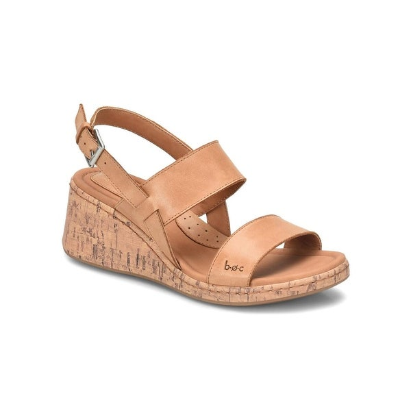 B.O.C Womens Lillia Leather Open Toe Casual Slingback Sandals