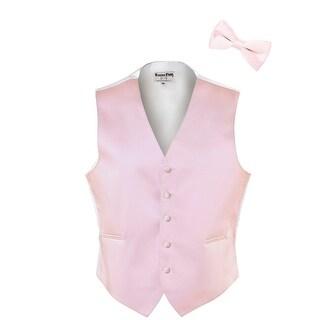 Light Pink Satin Tuxedo Vest and Bow Tie