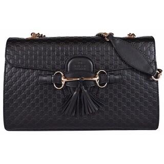 """Gucci Women's 449635 Black Micro GG Guccissima Leather Emily Purse Handbag - 11.8"""" x 7.3"""" x 3"""""""