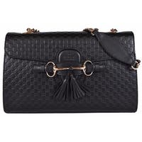 "Gucci Women's 449635 Black Micro GG Guccissima Leather Emily Purse Handbag - 11.8"" x 7.3"" x 3"""