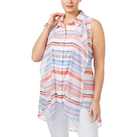 NY Collection Womens Plus Blouse Striped Ruffled