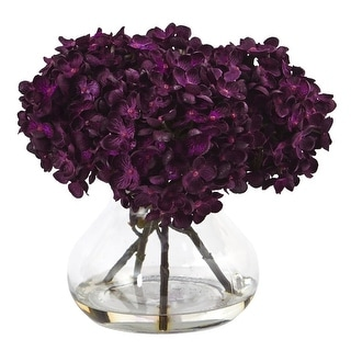 Nearly Natural Floral Decor Hydrangea with Vase Flower Arrangement
