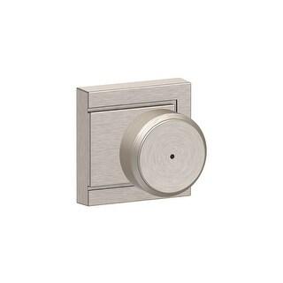 Schlage F40-BWE-ULD  Bowery Privacy Door Knob Set with Decorative Upland Trim - Satin Nickel