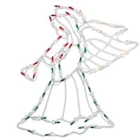 "18"" Lighted Red, White and Green Angel Christmas Window Silhouette Decoration"