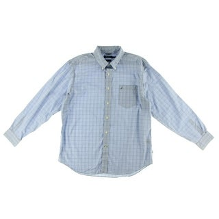 Nautica Mens Plaid Button-Down Collar Button-Down Shirt - M