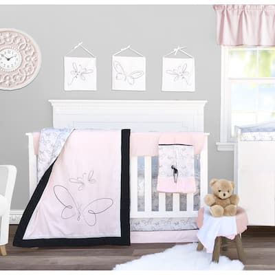 Pam Grace Creations 10 Piece Pink Butterfly Crib Baby Bedding Set