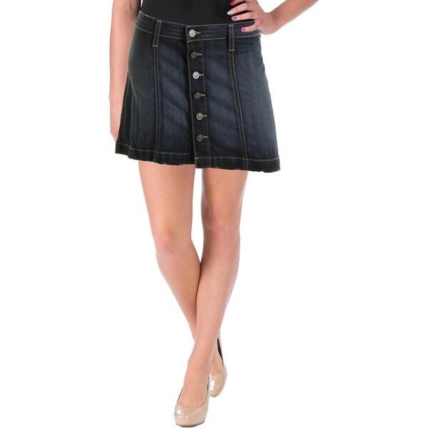 Flying Monkey Womens Denim Skirt Denim Button Front