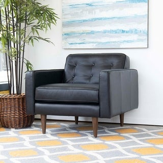 "Link to Mid Century Modern Benson Black Genuine Leather Lounge Chair - 30"" x 34"" x 34"" Similar Items in Corner Chairs"