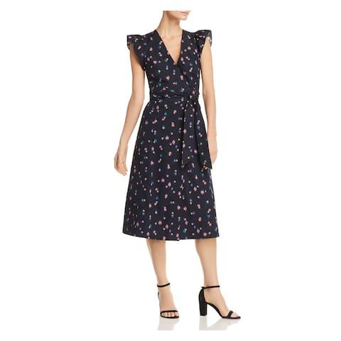 REBECCA TAYLOR Navy Sleeveless Knee Length Wrap Dress Dress Size 0