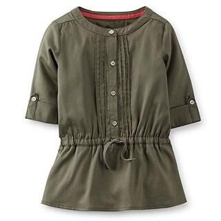 Carter's Little Girls' Sateen Pintuck Tunic Olive - 4 Kids