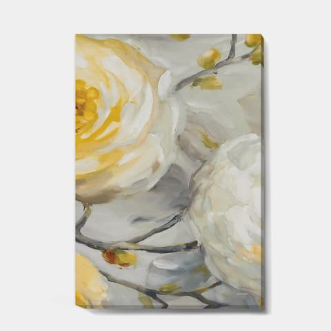 Designart 'Sunshine Yellow Flower II' Floral Canvas Art - Grey