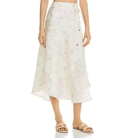 Three Dots Womens Wrap Skirt Linen Floral - White - XL