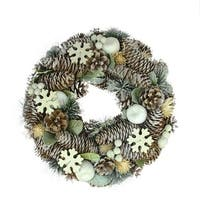 "12.5"" Frosted Glitter Pine Cone and Fruit Artificial Christmas Wreath - Unlit - WHITE"