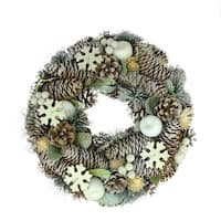 "12.5"" Frosted Glitter Pine Cone and Fruit Artificial Christmas Wreath - Unlit"