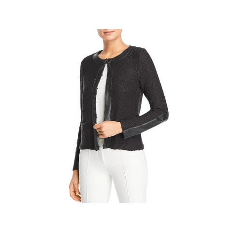 Donna Karan Womens Cardigan Sweater Long Sleeves Faux Leather Trim
