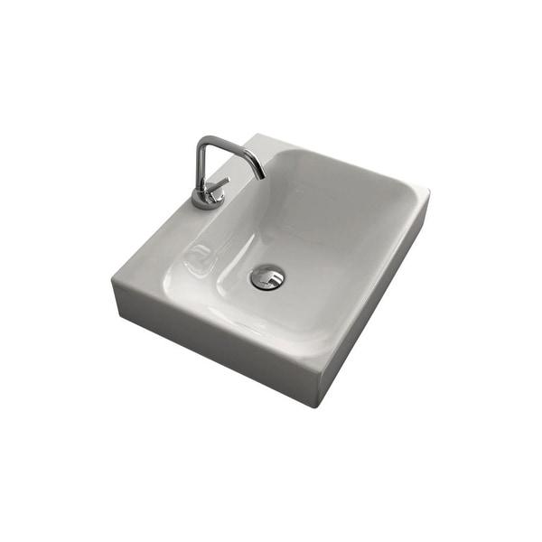 "WS Bath Collections Cento 3559 19-11/16"" Ceramic Vessel Bathroom Sink - White"