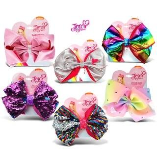 "Jojo Siwa Silver & Rainbow Metallic, Pink Glitter, Purple Sequin, Rainbow Sequin & Pastel Rainbow Ponytail Bows 7""x5"" (6 Items)"