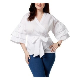 NY Collection Womens Plus Wrap Top Tiered Sleeves Casual - 3x