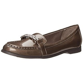 LifeStride Womens Abella Patent Round Toe Loafers - 6 wide (c,d,w)