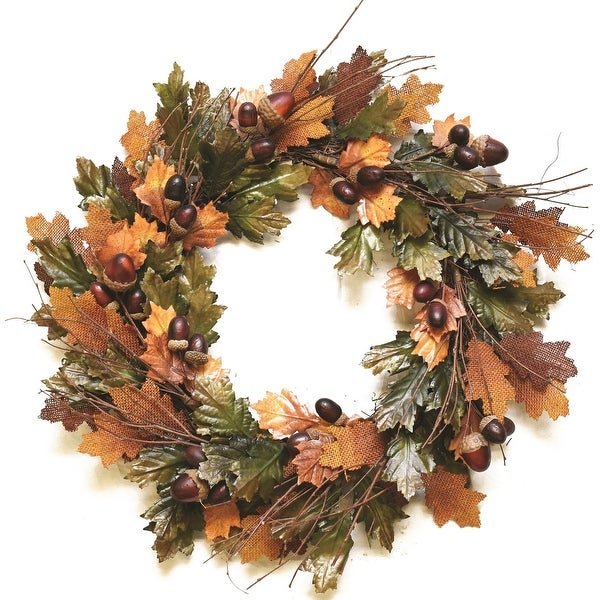 """20"""" Autumn Harvest Decorative Brown and Green Artificial Leaves Acorns and Twigs Wreath - Unlit"""