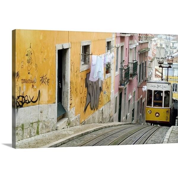 """""""Elevador da Bica, furniculars in Lisbon."""" Canvas Wall Art"""