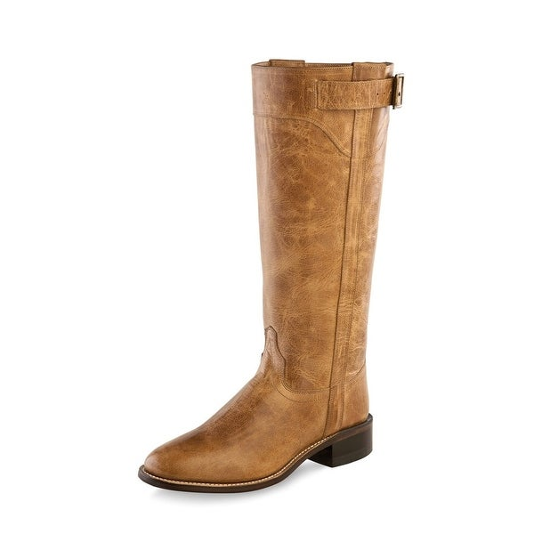 Old West Fashion Boots Womens Tall Zip Roper Goodyear Tan Fry