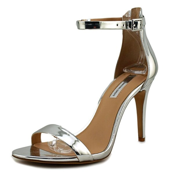 INC International Concepts Roriee Women Open Toe Leather Silver Sandals