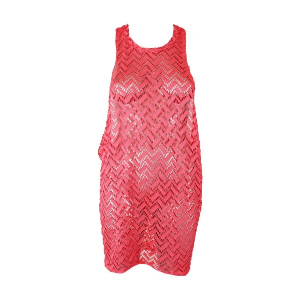 ee12902635 Shop Miken Swim Neon Coral High-Neck Crochet Tunic Cover Up XS ...