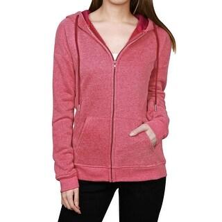 Allegra K Woman Kangaroo Pocket Zip Up Long Sleeves Drawstring Hoodie - Red