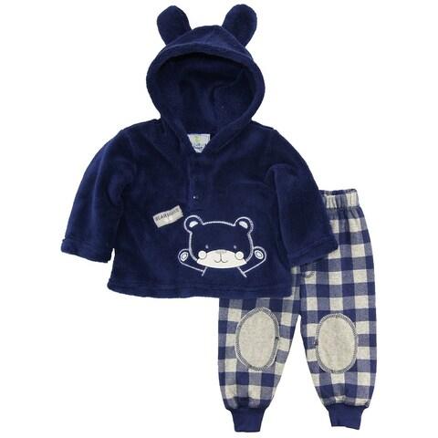 Duck Goose Baby Boys Teddy Bear Ear Sherpa Hooded Jacket Microfleece Pant Set