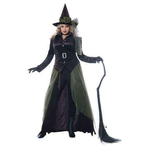 Womens Plus Size Gothic Witch Halloween Costume