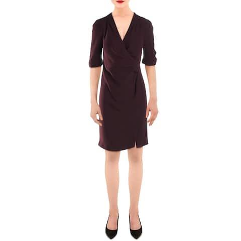 Gerard Darel Womens Wear to Work Dress Faux Wrap Surplice - Lie De Vin