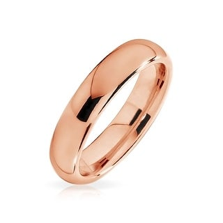 Unisex Rose Gold Plated Tungsten Wedding Band Ring 4mm