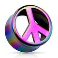 Rainbow Peace Symbol AB Coat Double Flared Acrylic Saddle Fit Plug (Sold Individually) - Thumbnail 0