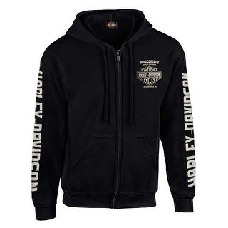 Harley-Davidson Men's Vintage Racer Head Distressed Full-Zip Hoodie - Black